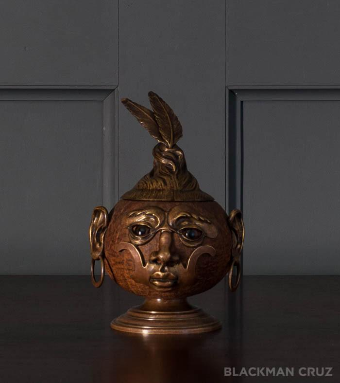 Coconut with Bronze Mounts and Glass Eyes Tobacco Box, 1920s