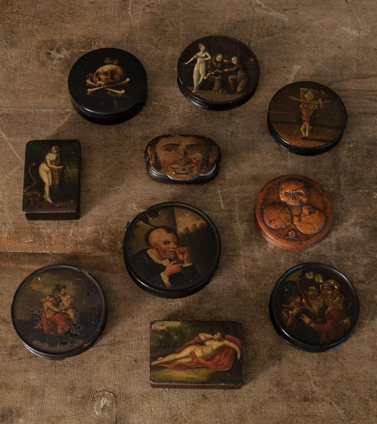 Collection of 10 Hand-painted Snuff Boxes
