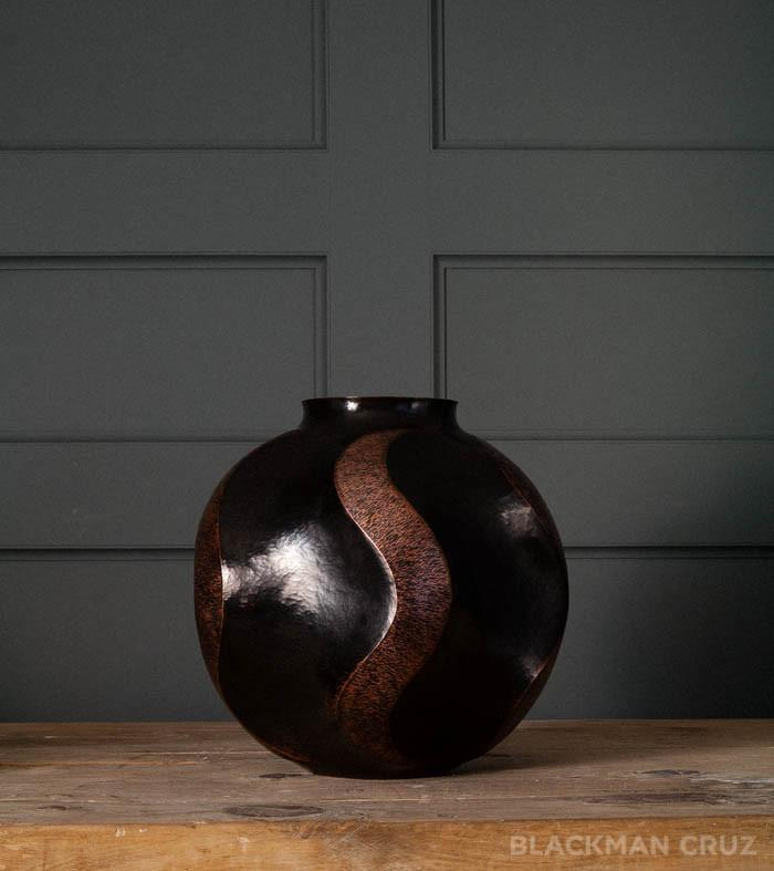 Copper Vase  with Rippled Pattern, Large
