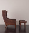 Danish Wing-Back Chair with Ottoman, in the Style of Borge Morgensen