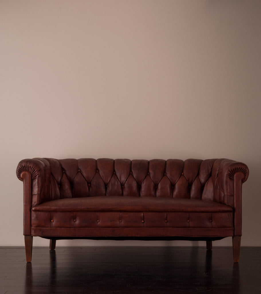 Edwardian Chesterfield Leather Sofa