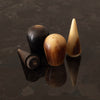 HORN SALT AND PEPPER SHAKERS IN PALM WOOD HOLDER