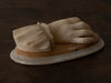ITALIAN CARVED FEMALE MARBLE HAND with shell