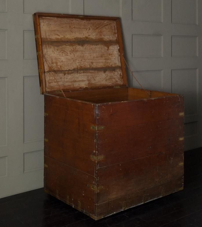 LARGE WOOD & BRASS STRAPPED SILVER STORAGE BOX