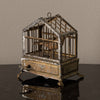 PAINTED TOLE AUTOMATON BIRD IN CAGE