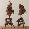 PAIR OF DANCING WOOD FIGURES