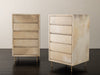 PAIR OF PARCHMENT FIVE DRAWER CABINETS
