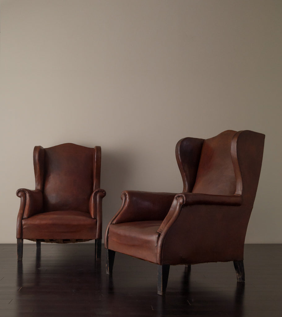 Awesome PAIR OF ITALIAN WINGBACK CLUB CHAIRS