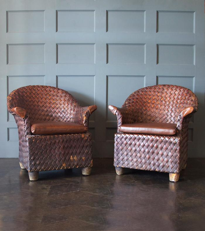 Pair of Banana Leaf Club Chairs
