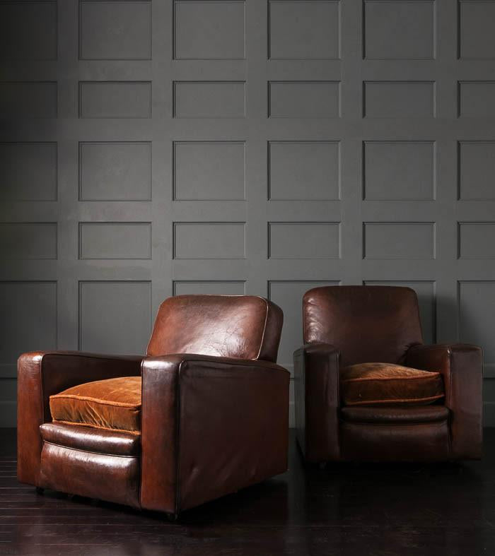 Pair of French Leather Lounge Chairs, 1920s