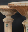 Pair of Spectacular Carved Onyx Pedestal Planters