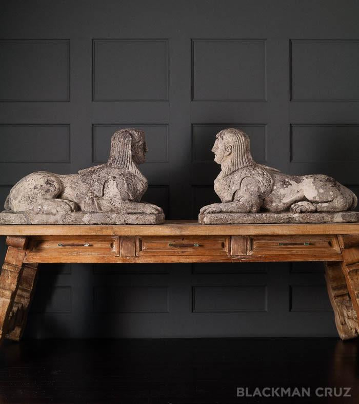Pair of Stone Sphinxes