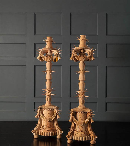 Pair of 'Patria' handcrafted candlesticks by Mike Diaz