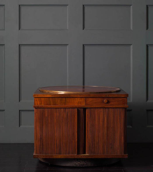Revolving Coffee Table/Cabinet with Tambor Doors, 1930s