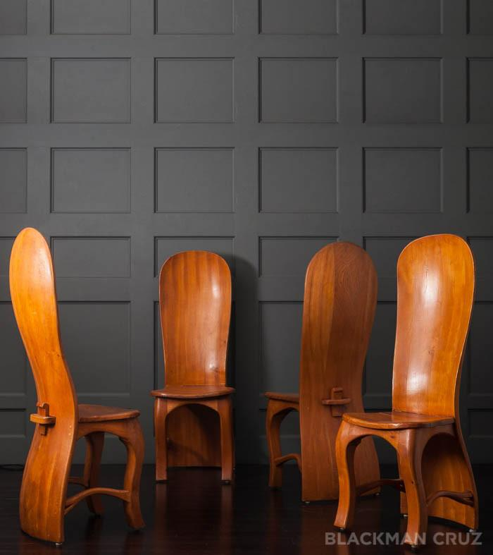 Set of Four Hand Crafted Unique Dining Chairs