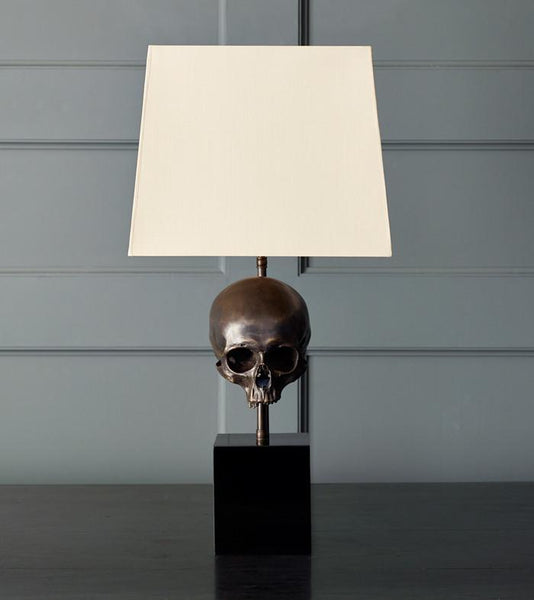 Skull Table Lamp, Bronze