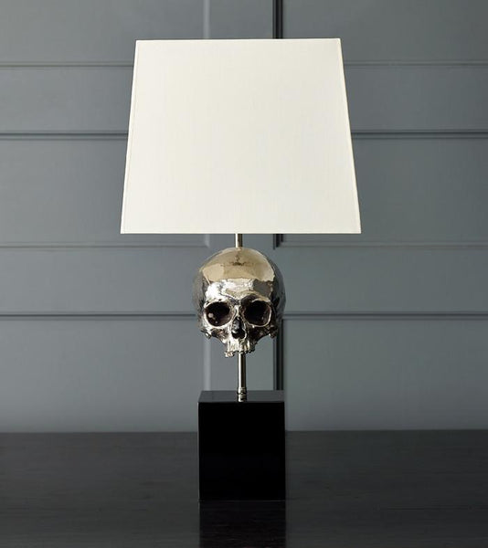 Skull Table Lamp, Nickel Plated