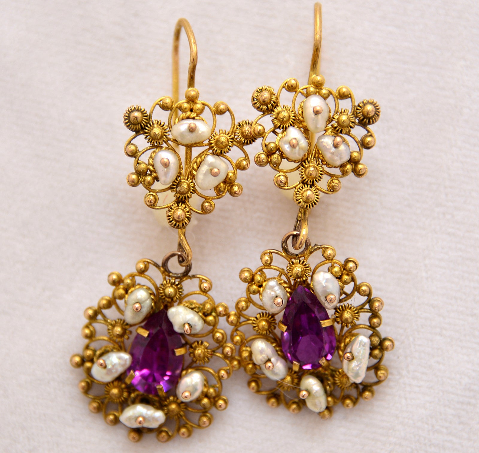 with and gocce en di earrings granati pearls garnets filigree gold