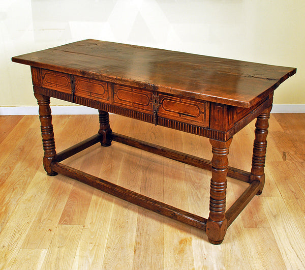 Spanish baroque walnut table colonial arts for Spanish baroque furniture