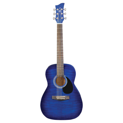 Jay Turser JJ43F 3/4 Size Flame Top Acoustic Guitar, Blue Sunburst - 1