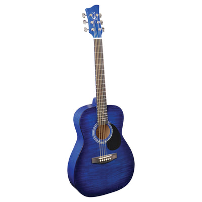 Jay Turser JJ43F 3/4 Size Flame Top Acoustic Guitar, Blue Sunburst - 2