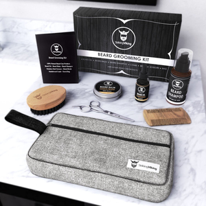 viking beard kit for men beard products on counter beard scissors beard comb beard oil and balm brush