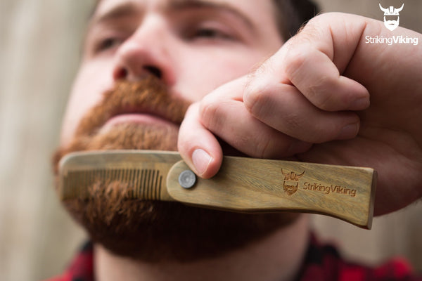 Folding Beard Comb Striking Viking