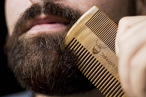 Wooden Beard Comb & Case with Fine & Coarse Teeth - Anti-Static - Brown
