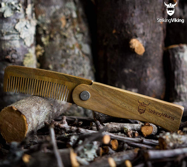 Wooden Switchblade Comb Striking Viking