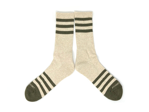 HEATHER STRIPES Socks - Cream/Olive