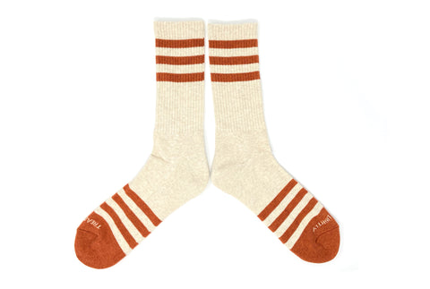 HEATHER STRIPES Socks - Cream/Orange