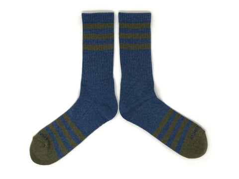 HEATHER STRIPES Socks - Navy/Olive