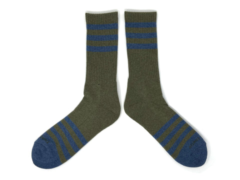 HEATHER STRIPES Socks - Olive/Navy