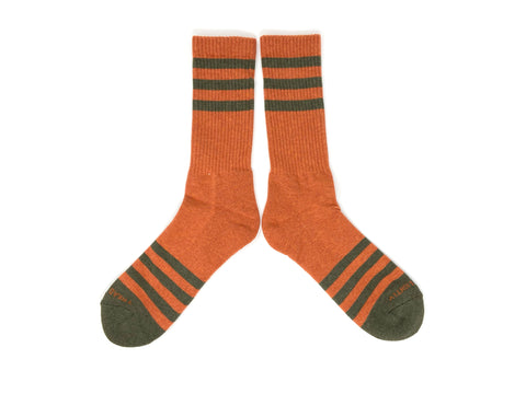 HEATHER STRIPES Socks - Orange/Olive