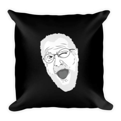 Angry Grandpa Face - Square Pillow (Black)