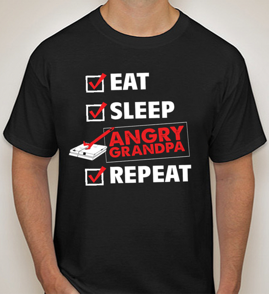 Eat, Sleep, Angry Grandpa, Repeat T-Shirt (Black)
