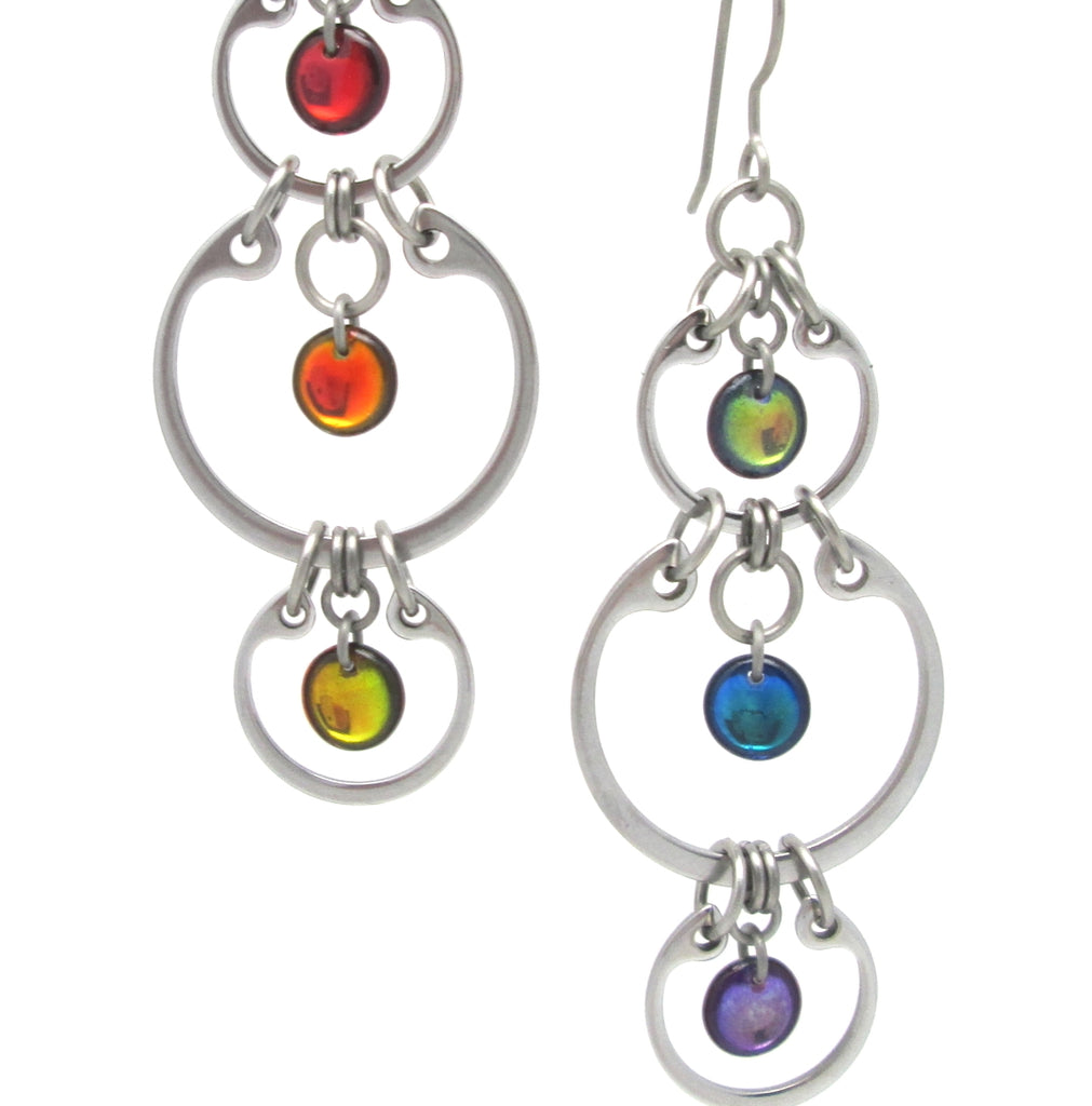 Alternating Rainbow Earrings (Industrial Glass Collection)