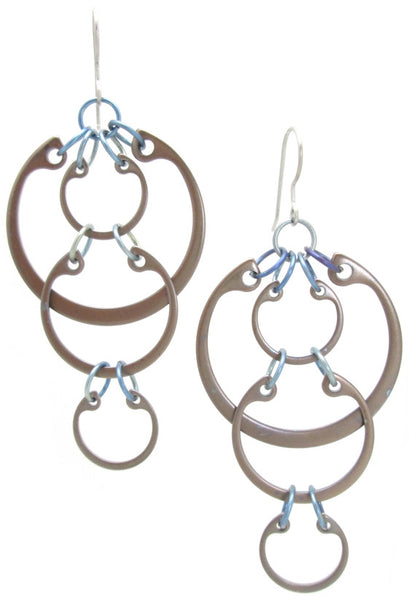 Cascading Circles Earrings (Large) (Heat Patina Collection)