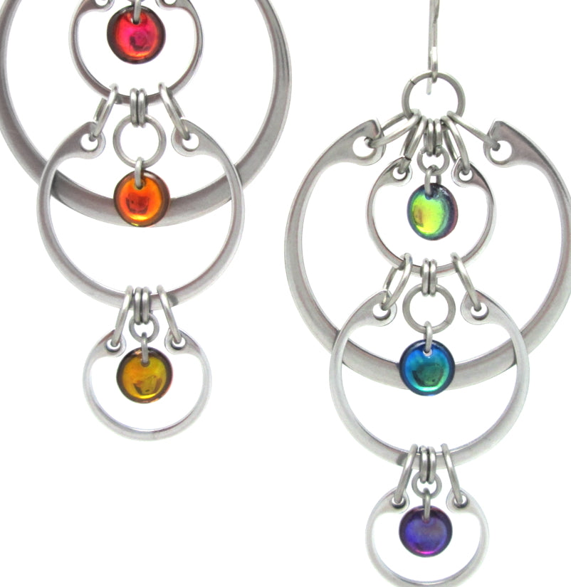 Cascading Rainbow Earrings (Industrial Glass Collection)