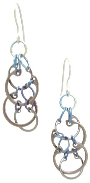 Clustered Circles Earrings (Medium) (Heat Patina Collection)