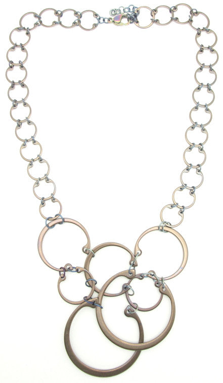 Clustered Circles Necklace (Heat Patina Collection)