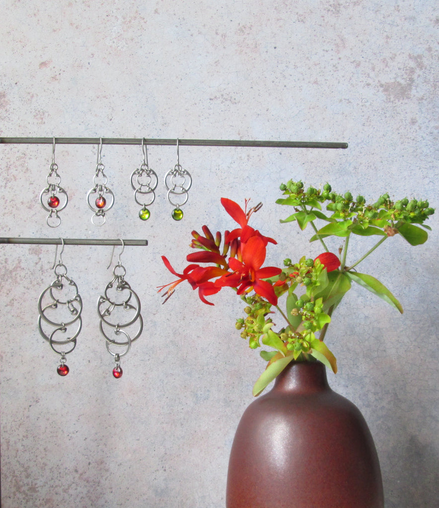 Clustered Circles Earrings (Large) (Industrial Glass Collection)