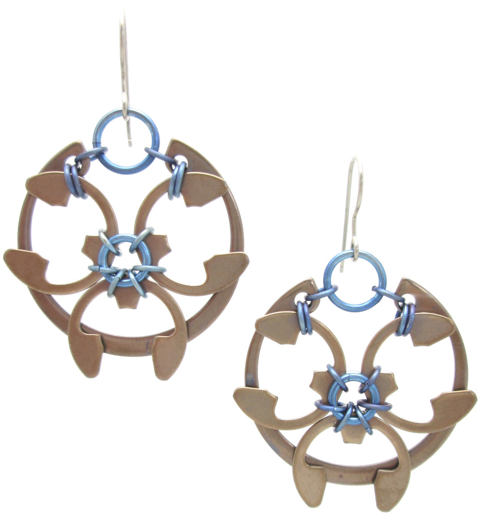 Rose Window Earrings (Heat Patina Collection)