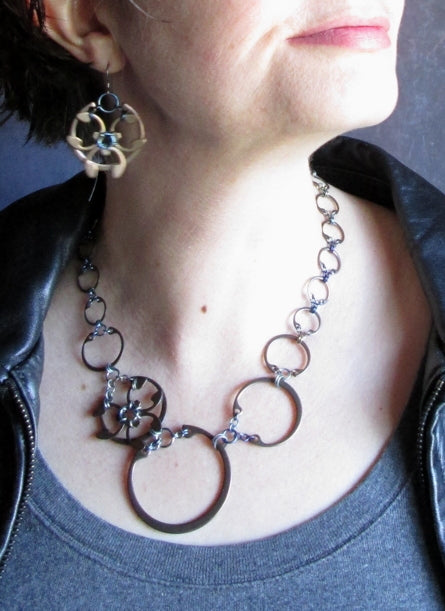 Rose Window Necklace (Heat Patina Collection)
