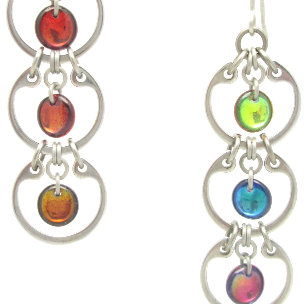 Tripled Rainbow Earrings (Industrial Glass Collection)