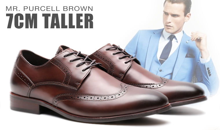 Mr. Purcell Brown 5cm | 2 inches Taller Brogue Heel Lift Shoes
