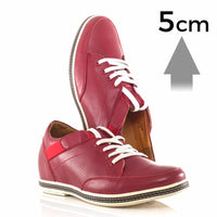 Mr. Ahilan 5cm | 2 inches Taller Red Mens Casual Elevator Shoes