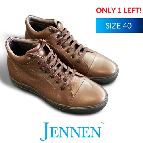 Prototype Mike High Top Brown Leather Casual Shoes 6cm Taller JENNEN Shoes