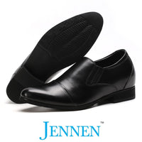 Mr. Gill Black 7cm | 2.8 Inches Taller Leather Elevator Shoes