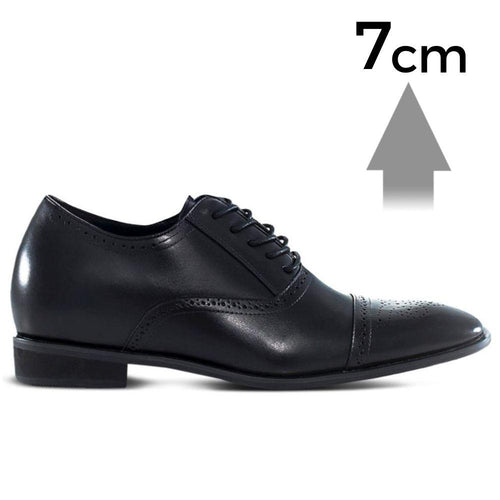 Mr. Ravel 7cm 2.8 inches Taller Black Brogue Elevator Shoes.jpg
